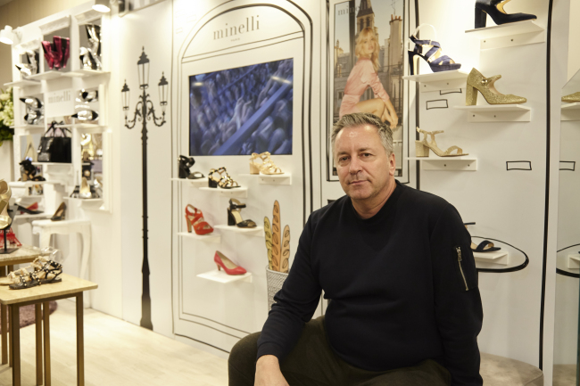Fred Allard poses at a Minelli pop-up store in the Shinsegae Department Store Gangnam branch in Seoul on Saturday. (GRI Korea)