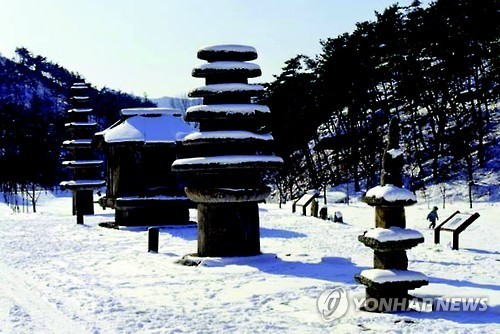 Stone pagodas at Unjusa Temple in Hwasun, South Jeolla Province (Cultural Heritage Administration)