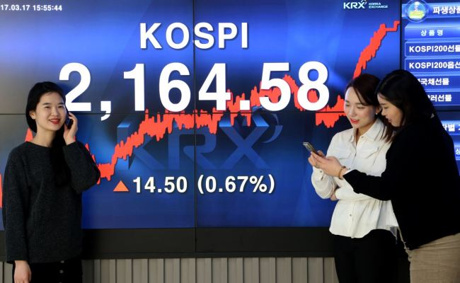 Kospi hit its highest point in almost two years on Friday (KRX)