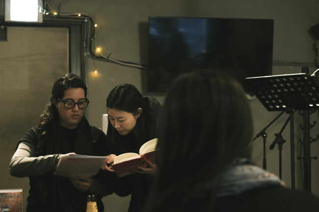 "Director Renee Kim (right) talks with a cast member during rehearsals for the V-Day Seoul Project's ""Vagina Monologues."" (Erina Sung)"