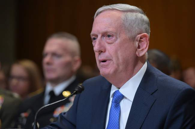 US Defense Secretary James Mattis testifies before the Senate Appropriations Committee Defense Subcommittee on defense readiness and budget update in the Dirksen Senate Office Building on March 22, 2017 in Washington, DC. (AP-Yonhap)