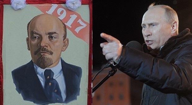 "Russian President Vladimir (right) denounces Soviet state founder Vladimir Lenin for his brutal rule and for placing a ""time bomb"" under Russia. (AP PHOTO)"
