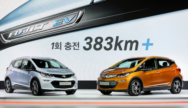 The GM Bolt EV is on display at the 2017 Seoul Motor Show in Goyang, Gyeonggi Province. (Yonhap)