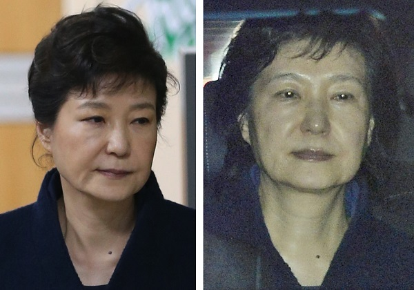 Former President Park Geun-hye's hair (R) not coiffed as she leaves the Seoul Central District Prosecutors' Office in a car on March 31, 2017, to be transfered to a detention house after a court issued a warrant to arrest her in connection with a corruption scandal that led to her removal from office. Park was seen emerging with the cropped chignon style (L) that is her trademark, after attending the court's hearing to determine whether to approve the warrant the previous day. (Yonhap)