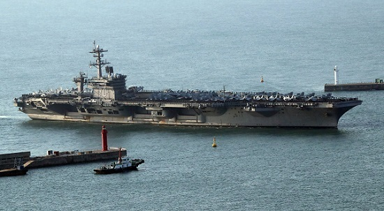 The USS Carl Vinson supercarrier arrives at a port in Busan, Korea on March 15. (EPA-Yonhap)
