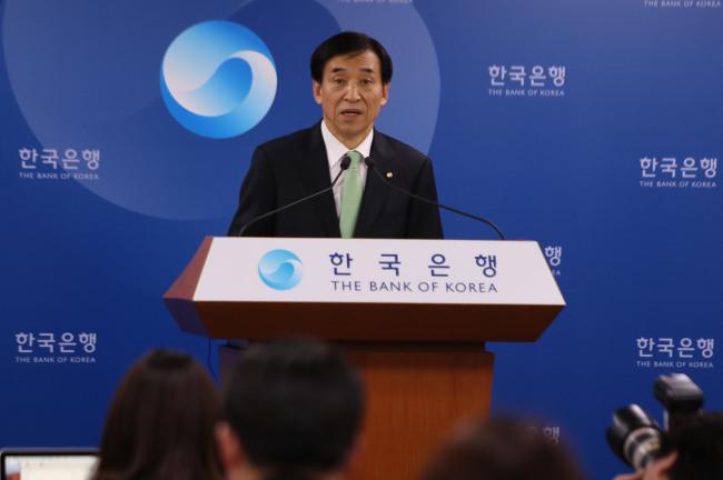 BOK Gov. Lee Ju-yeol speaks at a press conference in Seoul, Thursday. (Yonhap)