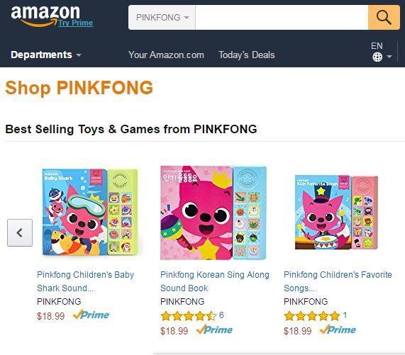 SmartStudy's Best Kids Song with Pinkfong mobile app on the Amazon app store's Kids Music & Audio Category (Amazon)