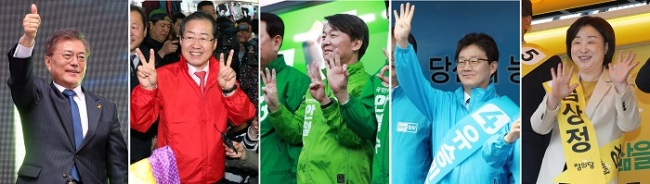 The five major presidential candidates Tuesday campaign nationwide, appealing to the voters for support. From left are Moon Jae-in of the liberal Democratic Party of Korea, Hong Joon-pyo of the conservative Liberty Korea Party, Ahn Cheol-soo of the centrist People's Party, Yoo Seong-min of the conservative Bareun Party and Sim Sang-jeung of the progressive Justice Party. (Yonhap)