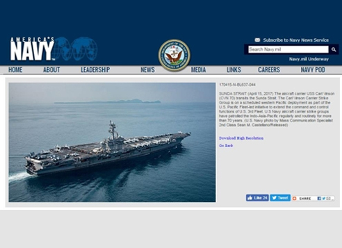 The website of the US Navy shows a photo of the aircraft carrier USS Carl Vinson transiting the Sunda Strait on April 15. (Yonhap)