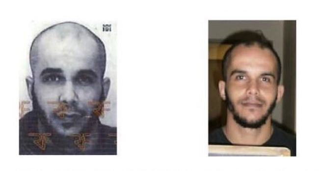 This two photo combo and provided by the AP on the condition that its source not be revealed, shows Frenchman Mahiedine Merabet. (AP)