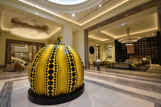 A sculpture by Japanese artist Yayoi Kusama is placed in the lobby of Paradise City hotel. (Paradise Sega Sammy)