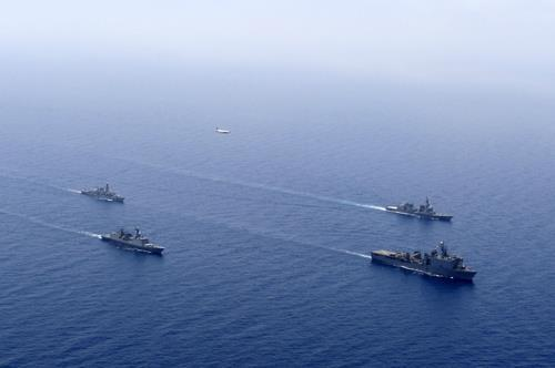 Vessels of South Korea, the US, Japan and Britain participate in a joint exercise in the waters off the Gulf of Aden. (Joint Chiefs of Staff)
