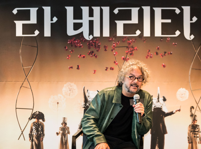 Daniele Finzi Pasca speaks during a press conference at LG Arts Center in Seoul on Tuesday. (LG Arts Center)