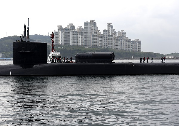 The nuclear-powered USS Michigan arrives in Busan on Tuesday as a show of force against North Korea's missile and nuclear program. (Yonhap)