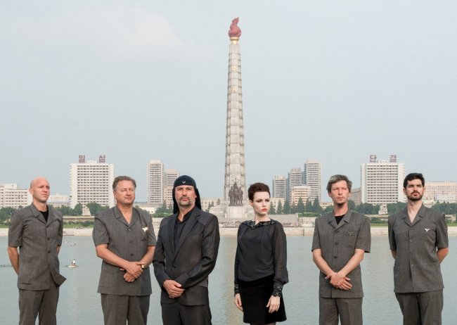 """Laibach poses in Pyongyang in a scene from documentary musical """"Liberation Day."""" (JIFF)"""