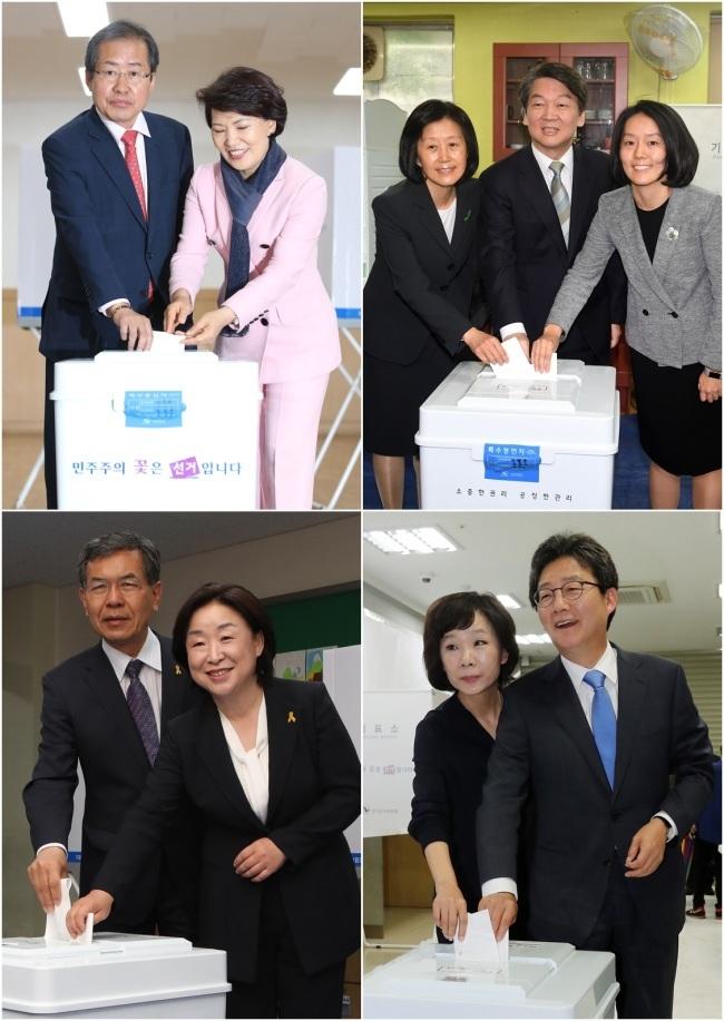 (Clockwise from top left) Hong Joon-pyo, Ahn Cheol-soo, Yoo Seong-min and Sim Sang-jeung. (Yonhap)