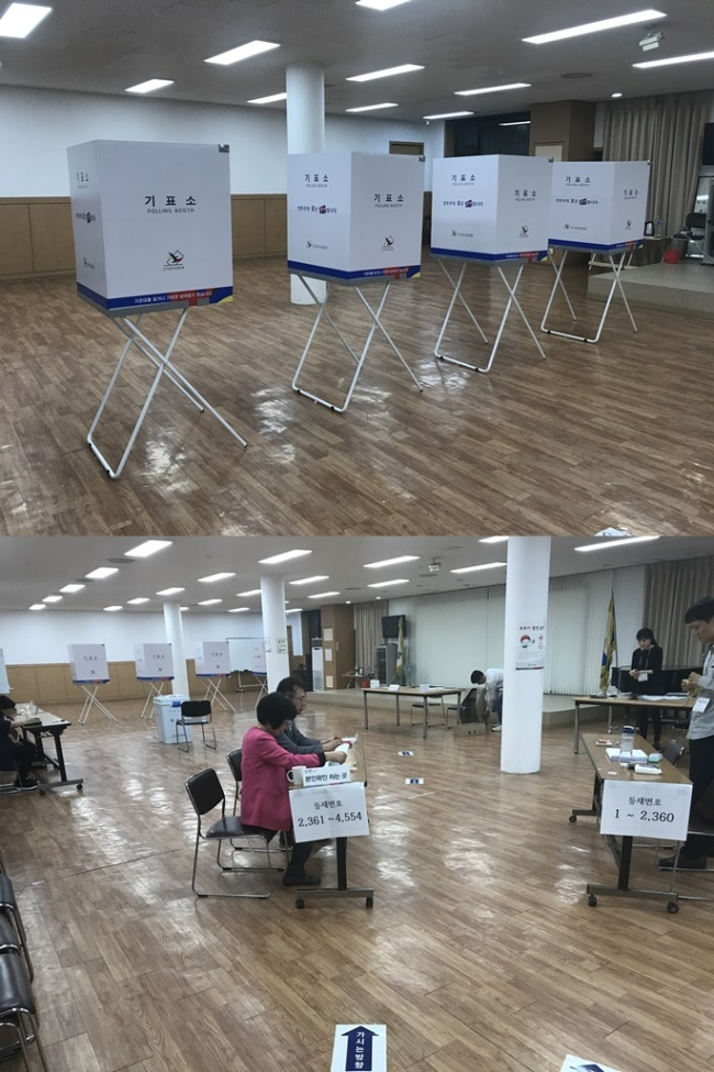 Polling booths in Jamsil district, Seoul (Bak Se-hwan/The Korea Herald)