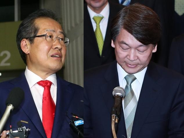 Hong Joon-pyo (left) and Ahn Cheol-soo (Yonhap)