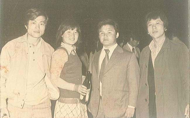 Moon, far left, and his wife Kim Jung-sook during college years. (Yonhap)