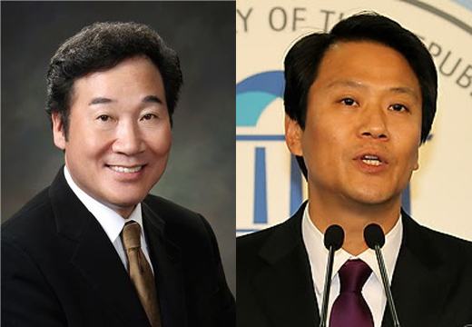 South Jeolla Gov. Lee Nak-yon (left) and former lawmaker Lim Jong-seok (Yonhap)