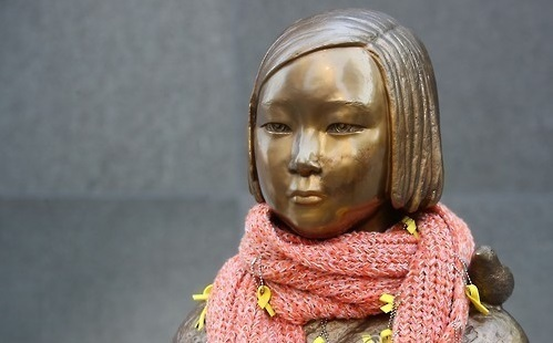 A statue memorializing wartime sex slaves in South Korea (Yonhap)
