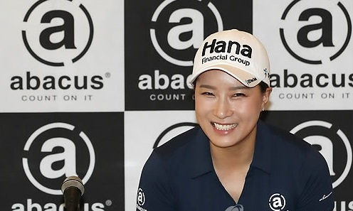 Former LPGA Tour star Pak Se-ri smiles during a corporate event in Seoul on April 28, 2017. (Yonhap)