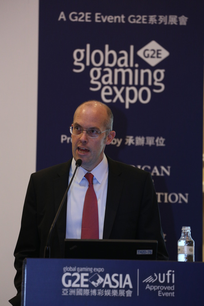 Steve Gallaway, managing partner at Global Market Advisors, speaks at the Global Gaming Expo Asia held at Venetian Macau on Wednesday. (MM Marketing Communications Consulting)
