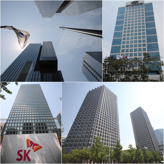 Samsung Electronics (from left), Hyundai Motor, LG and SK headquarters (Yonhap)