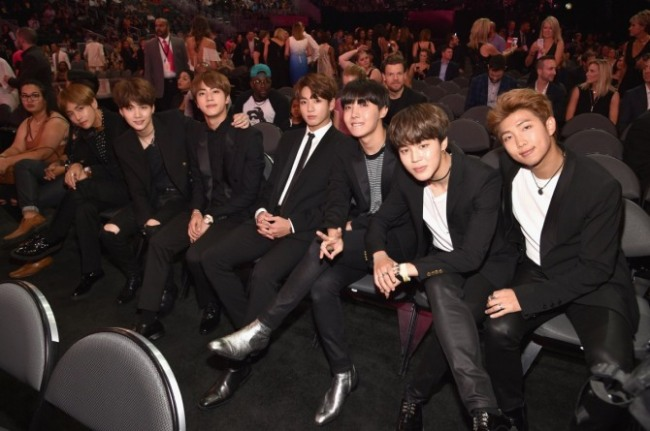 BTS attends the 2017 Billboard Music Awards on Sunday. (Billboard Music Awards' Twitter)