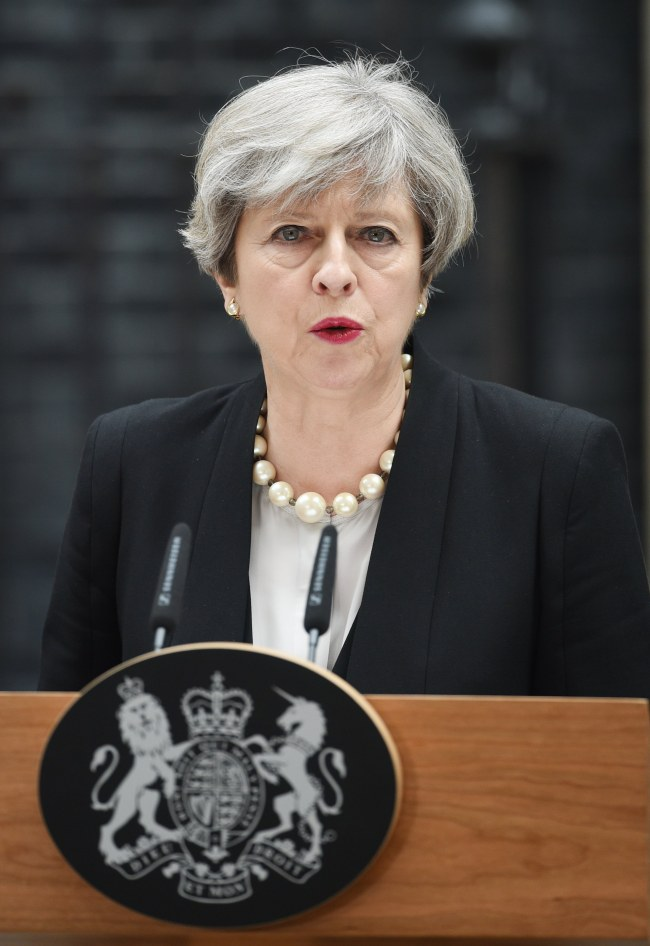 Prime Minister Theresa May delivers a statement after chairing a meeting of the Government`s emergency `Cobra` committee, in No. 10 Downing Street, in London, Britain, Tuesday. EPA-Yonhap