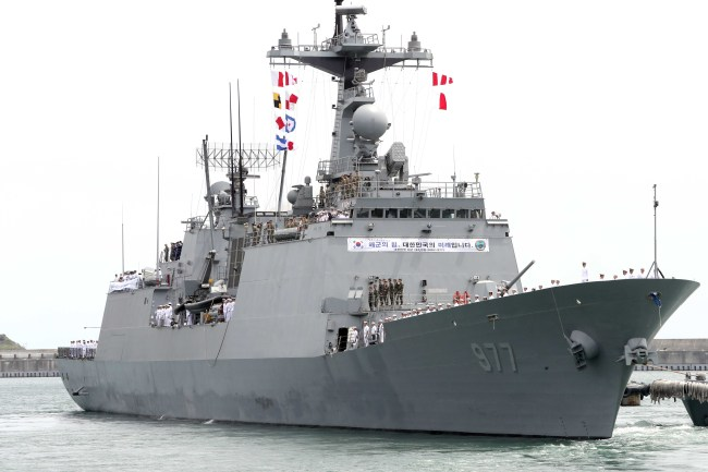 The Navy`s 4,400-ton destroyer Daejoyoung carrying the 24th batch of the 300-strong Cheonghae Unit departs its Fleet Command in Busan on May 2 for the Gulf of Aden off the coast of Somalia for its mission. (Yonhap)