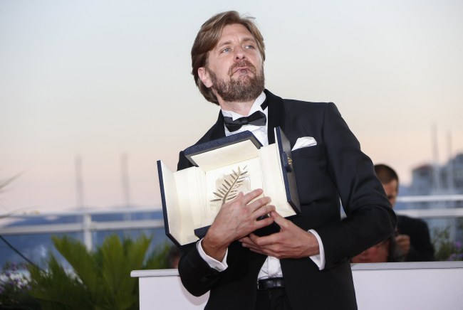 Swedish director Ruben Ostlund poses during the Award Winners photocall after he won the Palme d'Or (Golden Palm) Prize for