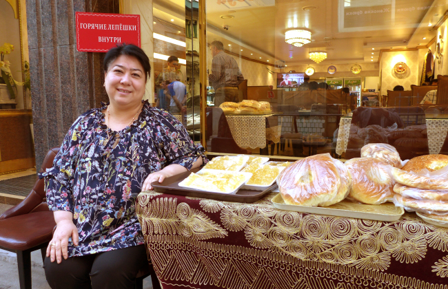 Amonova Dilorom, the owner of Samarkand restaurants in Seoul (Joel Lee/The Korea Herald)