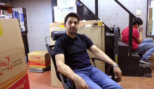 Khodjaev Zafar, the owner of Uzhanaro shipping (Joel Lee/The Korea Herald)