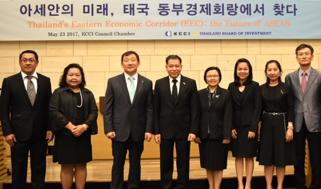 Participants pose at an investment seminar on Thailand's Eastern Economic Corridor at the Korea Chamber of Commerce and Industry on May 23. (Thai Embassy)