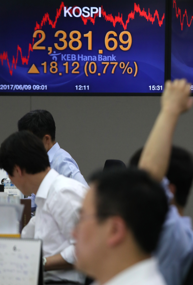 Dealers are seen in front of an electronic board showing Kospi closing at a record high of 2,381.69 at a KEB Hana Bank branch in Seoul, Friday. (Yonhap)