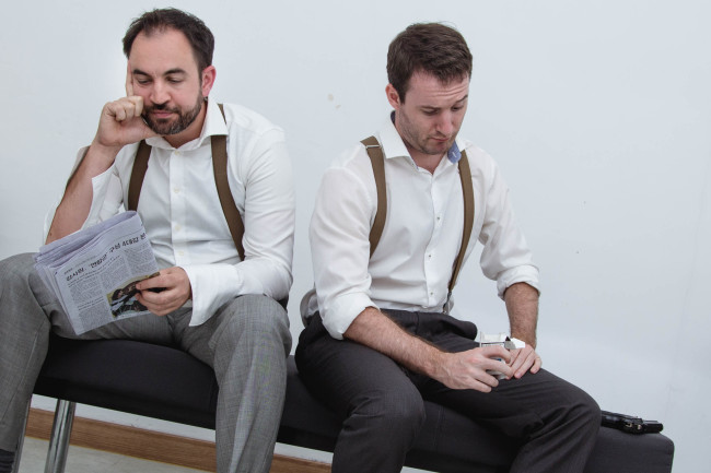 """Nate Rockefeller (left) and Jack George appear in the Gwangju Performance Project's """"Counterparts."""" (Ben Robins)"""