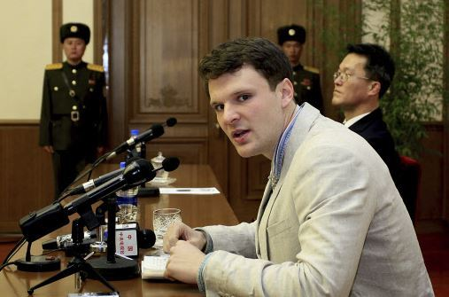 In this Feb. 29, 2016 file photo, American student Otto Warmbier speaks to reporters in Pyongyang, North Korea. Secretary of State Tillerson said Tuesday, June 13, 2017, that North Korea released the jailed U.S. university student. (AP-Yonhap)