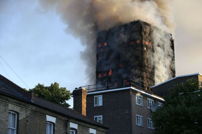 Residents Being Evacuated from Burning Building in London