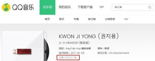 "As of 10:55 p.m. on Wednesday, Big Bang's G-Dragon sold 1,000,297 copies of ""Kwon Ji Yong"" on QQ Music. (Captured from QQ Music)"