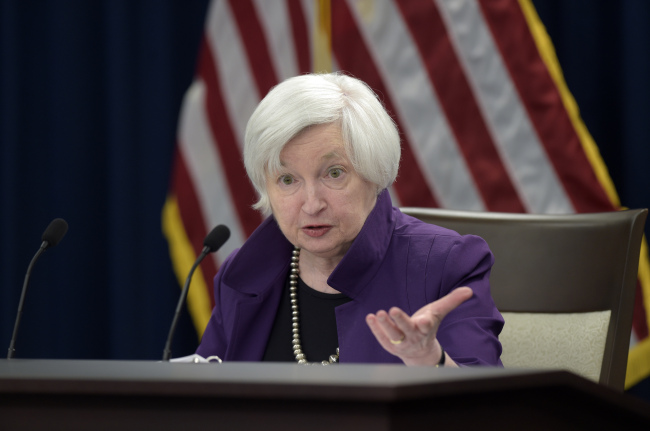 US Federal Reserve Chair Janet Yellen speaks in Washington on Wednesday. (AP-Yonhap)