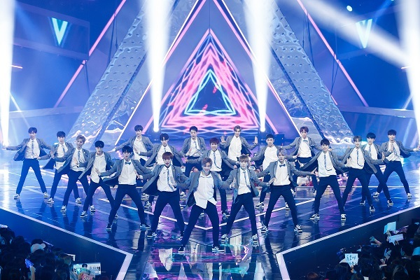 "Contestants of the second season of ""Produce 101"" perform onstage in the show's final episode Friday. (Mnet)"