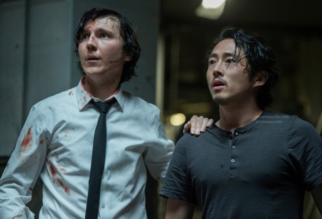 "A scene from ""Okja"" starring Paul Dano (left) and Steven Yeun (NEW)"