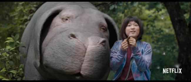 "A scene from ""Okja,"" with Ahn Seo-hyun (Netflix)"