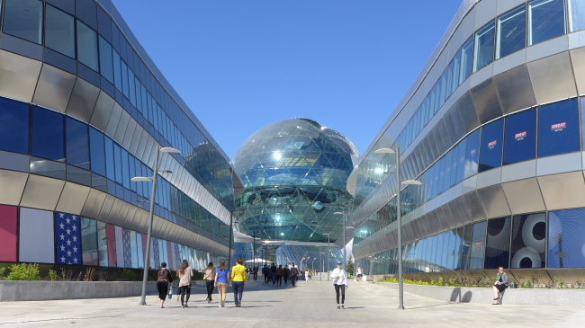 The Nur Alem Kazakh pavilion stands at the center of the Astana International Exposition site, which runs through Sept. 10 in Astana, Kazakhstan. (Joel Lee/The Korea Herald)