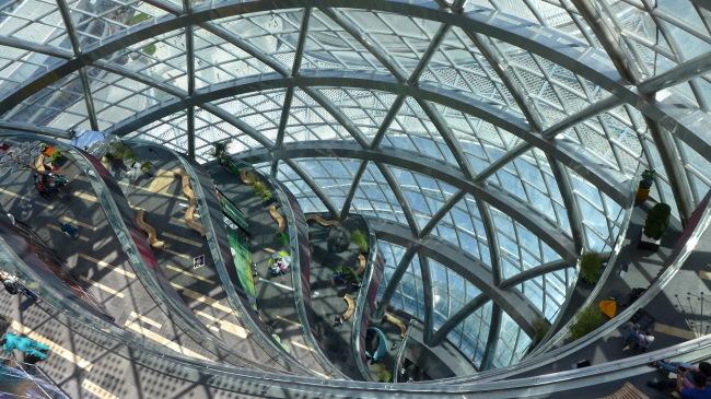The interior of the Nur Alem Kazakh pavilion at the center of the Astana International Exposition site, which runs through Sept. 10 in Astana, Kazakhstan. (Joel Lee/The Korea Herald)