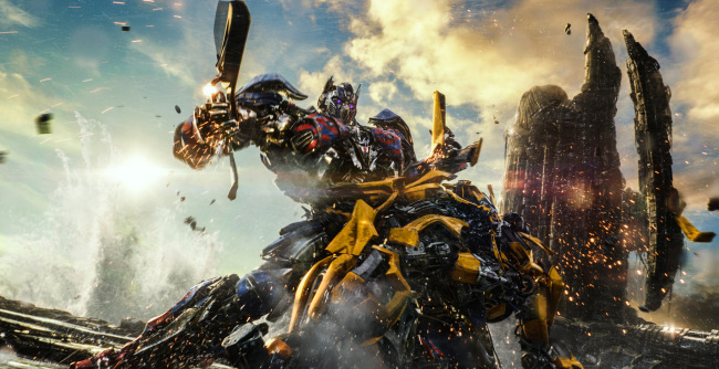 """Optimus Prime and Bumblebee in """"Transformers: The Last Knight."""" (Paramount Pictures)"""
