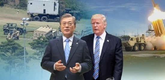 This composite image shows South Korean President Moon Jae-in (left) and his US counterpart Donald Trump who are set for summit talks in Washington on June 29-30, 2017. (Yonhap)