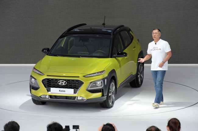 Chung Eui-sun, vice chairman of Hyundai Motor Group, introduces the Kona compact SUV during a world premiere event held at the Hyundai Motor Studio in Goyang, Gyeonggi Province. (Hyundai Motor Group)
