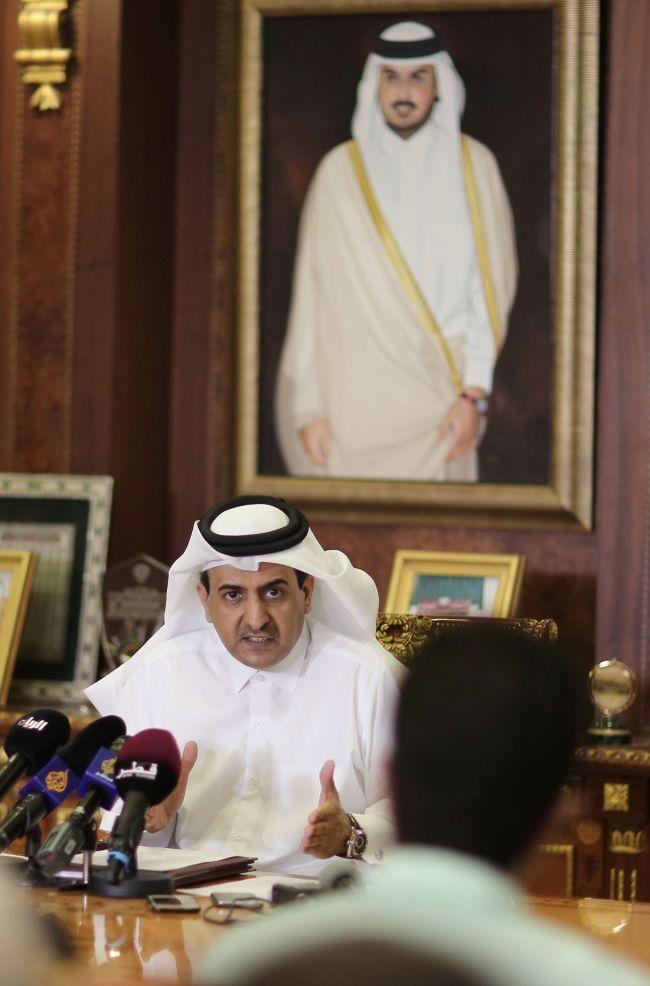 Qatar Attorney General Ali Bin Fetais Al-Marri speaks to reporters in Doha on June 20. (AFP-Yonhap)